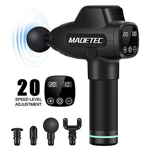 MADETEC Deep Tissue Massage Gun, Percussion Muscle Massager Gun Theragun for Athletes Pain Relief Therapy and Relaxation, Handheld Percussive Pure Wave Massager Device Fascia Gun- Quiet, 20 Speed