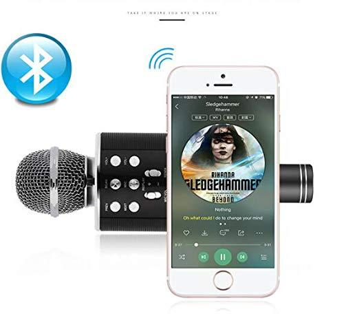 Topsale-ycld - Altavoz inalámbrico Bluetooth para karaoke (micrófono, USB recargable), color negro