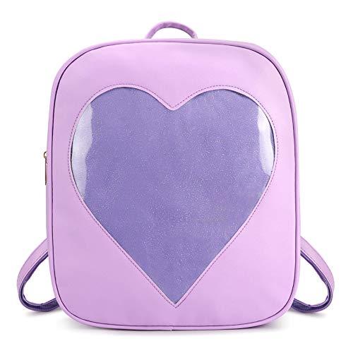 SteamedBun Ita Bag Heart Shaped Pin Backpack Candy PU Leather Kawaii Pins Bag