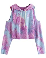 SweatyRocks Women's Cold Shoulder Tie Dye Pullover Hoodie Crop Top Sweatshirt Tie Dye Medium