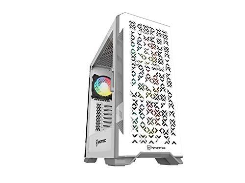 Nfortec Nekkar – Torre Gaming ATX A-RGB con frontale in acciaio e 4 ventole ARGB incluse – Bianco/Grigio