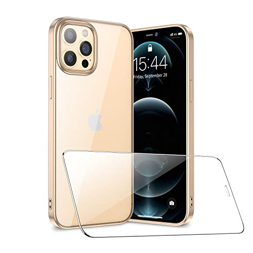 SmartDevil Compatible con iPhone 12 Pro MAX Funda con Gratis Vidrio Templado Protector de Pantalla, Ultra Fina Silicona Transparente TPU Carcasa Anti-Choque Anti-arañazos Caso, Oro