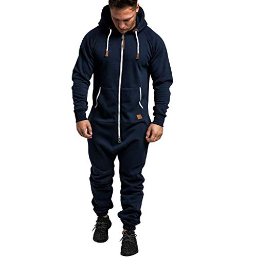 Men's Hooded Onesie Jumpsuit Sports Romper Overall Zip up Playsuit Drawstring Sportswear Adult Overall Hoodie