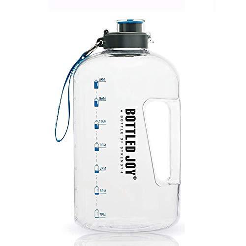 WENBING Botella de Agua Deportiva, Botella Motivacional, Botella Agua sin BPA Reutilizable Botellas de Agua con Marcador de Tiempo para Athletic, Bici, Gimnasio, Oficina,2.5L