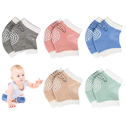 Baby Crawling Anti-Slip Knee Pads,Unisex Baby Toddlers Kneepads Leg Warmer 5 Pairs