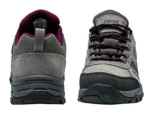 riemot Women's Hiking Shoes Waterproof Lightweight Walking Trekking Camping Shoes Breathable Non-Slip Outdoor Trail Running Sneakers Grey Wine US 8/EU 39