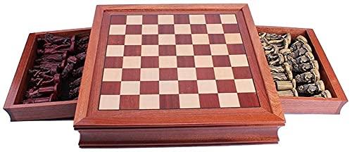 Juego de mesa Juego de Ajedrez de Madera con Cajón Retro Antiguo Roma Resina Chess Piezas de Ajedrez Redwood CheckerBoard Juego de Ajedrez Padres Ajedre de Ajedrez (Tamaño: 42cm) Juego de ajedrez