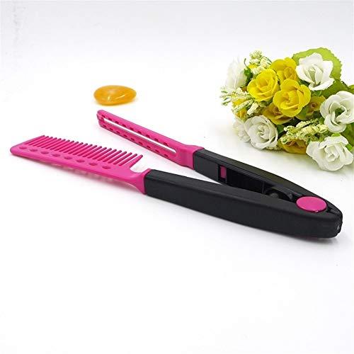 My youth 1 PC Frauen V-Typ Design Haarglätter Comb Folding Haar aussortieren Rosa/Blau Modelling Salon Friseur Combs Styling-Werkzeug (Color : 02)