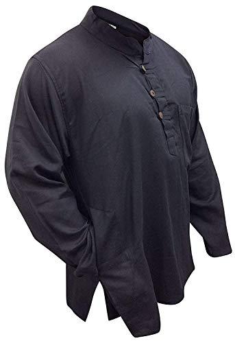 Leicht einfach schwarz opa baumwolle hemd,hippy,boho - Schwarz, XXX-Large