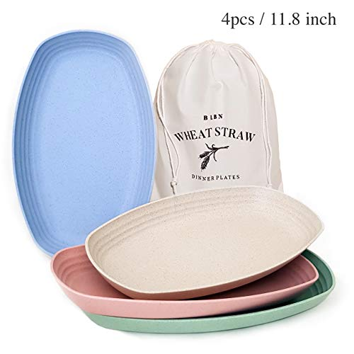 Lightweight & Reusable Wheat Straw Plastic Plates a set of 4 , Non-Toxic BPA Free Unbreakable Serving Plates, Eco-friendly Dishwasher & Microwave Safe for Kids Children Toddler & Adults (11')