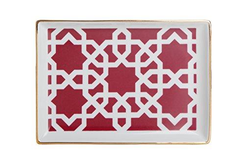 porland Morocco Muster 5 Fuschia 18cm Frühstücksteller 1 Stück - Porzellan Farbteller, Vorspeisenplatte