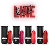 RED LINE pack esmaltado semipermanente pack de color permanente uñas semipermanentes set kit uñas para lámpara UV LED 4 colores BLUCC STYLE