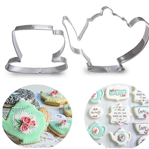 2ST Teekanne Tee-Schalen-Set Ausstecher Edelstahl-Fondant-Kuchen-Form-Werkzeug