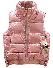 Ropa de abrigo Chaleco liviano de las niñas Soild Color chaleco de chaleco grueso abrigo sin mangas abrigo cálido prendas exteriores de ropa exterior de invierno abrigo a prueba de viento Invierno