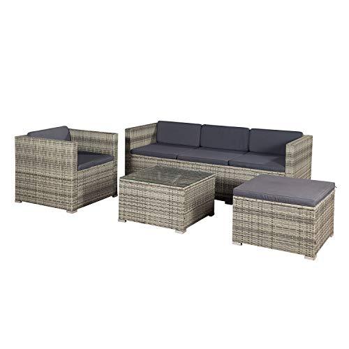 ArtLife Polyrattan Lounge Punta Cana L grau-meliert – Gartenlounge für 4-5 Personen – Gartenmöbel-Set mit Sessel, Sofa, Tisch, Hocker - Bezüge Dunkelgrau