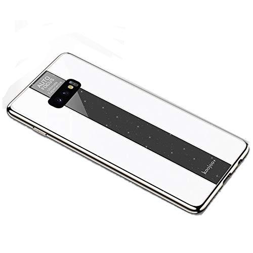 SGJFZD Fashion Chating Luxury PC Vidrio Espejo Trasero Funda Protectora de la Cubierta Protectora a Prueba de Golpes para Samsung Galaxy S10E (Color : White)