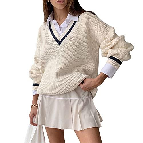 Pabuyafa Mujeres de manga larga Argyle Preppy Sweater Y2K V cuello suéter de punto superior vintage casual overwear abrigo, blanco, S
