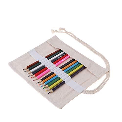 Baoblaze Trousse de Maquillage pour Pinceaux de Maquillage Portable Sac à Crayon Toile Rouleau Beige avec 12 Crayons - 19x21cm