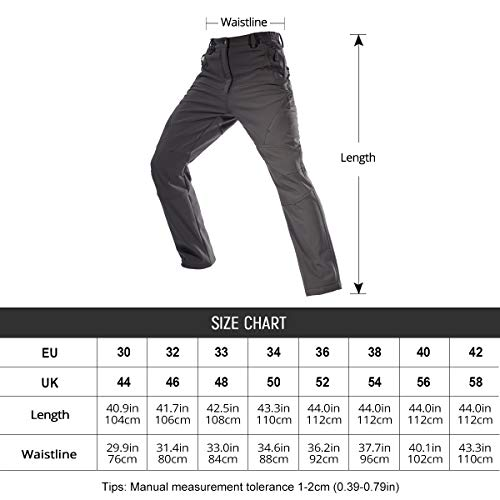 FREE SOLDIER Mens Waterproof Trouser Softshell Walking Trousers Winter Thermal Fleece Lined Pants Hiking Trousers for…