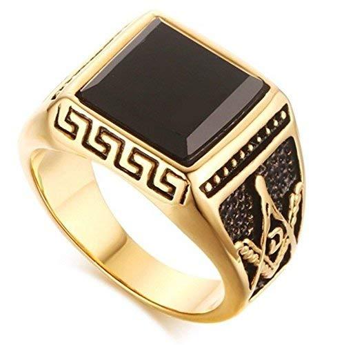 DUANMEINAD Gold Men Masonic Rings Black Stone Wedding Bands Freemasonry Jewelry Ring Size 7-12 (US Code 7)