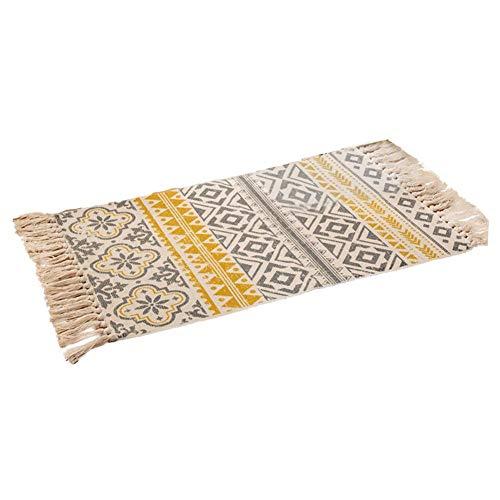 Qq Tapis rétro tissé à la main en Tapis décoratif en coton fin avec pompon pour salon, chambre à coucher (jaune géométrique)