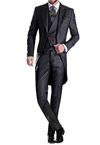 GEORGE BRIDE Herren Anzug 5-Teilig Anzug Sakko,Weste,Anzug Hose,Krawatte,Tasche Platz 005,Schwarz,XXXL