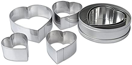 Homy Feel Heart-shaped Cookie Biscuit Cutter Set 6 Valentine Pastry Donut Cutter Set Heart Cookie Cutters Baking Metal Ring Molds