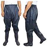 QTDZ Fishing Waders Waterproof Wading Pants and Boots, Light Breathable Outdoor Hunting and Fishing Clothing Rubber Boots with Elastic Waist for Men Ladies,Blau,46 EU