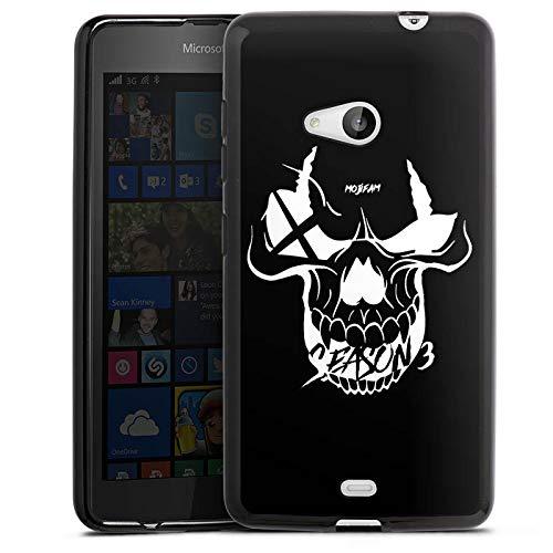 DeinDesign Silikon Hülle kompatibel mit Microsoft Lumia 535 Dual SIM Hülle schwarz Handyhülle Totenkopf Moji YouTube