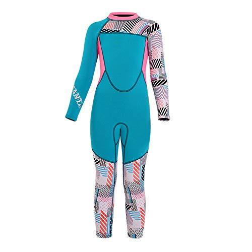 Traje de Neopreno para Niños, Traje de Buceo 2,5mm, Protector UV, Surf, Kayak para Niños Niña Traje de Neopreno Infantil Wetsuit,Azul,M