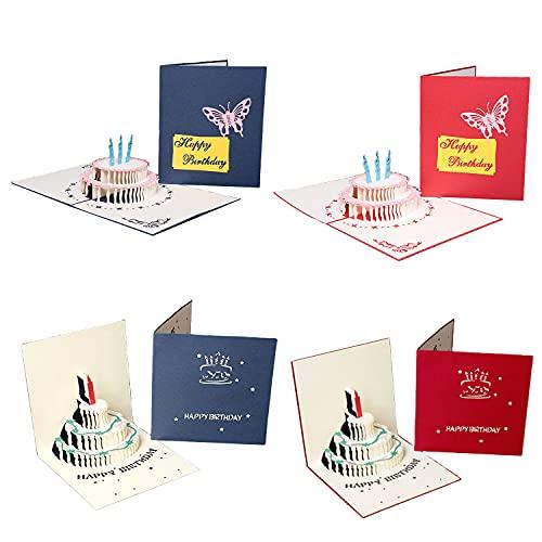 4 Stück 3D Geburtstagskarte Pop Up Grußkarte Geburtstag Karten mit schönen Papier-Cut Kuchen Glückwunschkarte 3D Geschenkkarte mit Umschlag zum Geburtstag