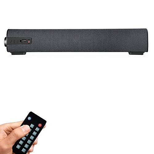"""Sound Bars for TV/PC, 16.9"""" Outdoor/Indoor Mini Soundbar with Wired & Wireless Bluetooth 5 Speaker, 2 X 5 W Sound Bar with Subwoofer for Home Theater, COAX/AUX/RCA/TF Card and Remote Control (Updated)"""