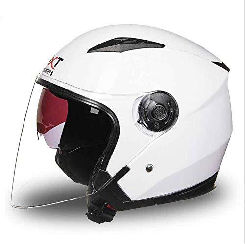LGF Helmet Casque de Moto visière à l'épreuve des ultraviolets Casque de Moto Double Pare-Soleil Flip Avant pour Les Hommes et Les Femmes Demi-Visage Four Seasons White,L