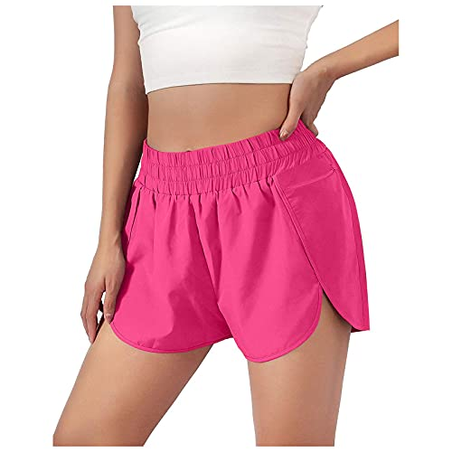 MINGE Women Pocket High Waist Casual Yoga Shorts Honeycomb Splicing Running Fit Lifting(Hot Pink,X-Large)