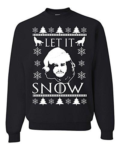 Let It Snow Jon Snow Stark GoT Ugly Christmas Sweater Unisex Crewneck Sweatshirt ( Black , Large )