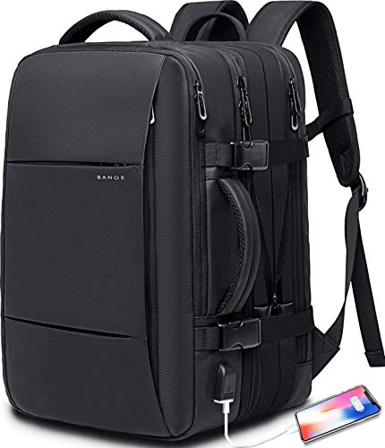 Bange Weekender Carry-on Backpack, 45 L Expandable Travel Backpacks for Airplanes, Convertible Backpack Briefcase for Travel, Water Resistant College 17.3 Inch Laptop Backpack for Men and Women