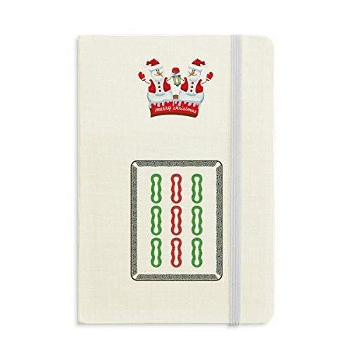 Mahjong Notizbuch, Bambus, 9 Fliesen, Muster, Weihnachten, Schneemann, dick, Hardcover