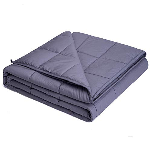 Kpblis Weighted Blanket 15 lbs 60' x 80' for 140-180 lbs, 7 Layers Heavy Blanket with Cooling Breathable Cotton and Glass Beads, Dark Gray