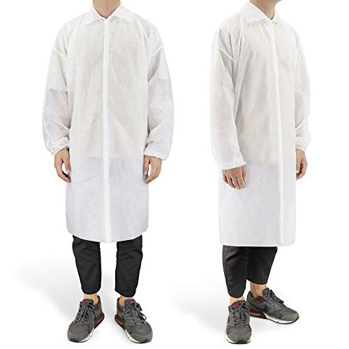 10 Pack Disposable Lab Coats Professional Polypropylene Laboratory Coat Science Jacket Industrial Visitor Coats with Large Pockets Elastic Cuffs for Kids Adult Classroom Science Labs Science (L)