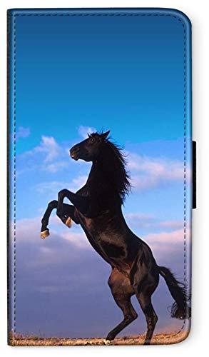 blitzversand Flip Case Sunset Horse Pferd kompatibel für Samsung Galaxy A20E Aufbäumen Pferd Hinter Hufen Handy Hülle Leder Tasche Klapphülle Brieftasche Etui r& um Schutz Wallet M6