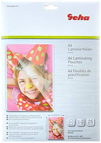 Geha 86093380 Hojas de plastificación - Láminas para plastificadora, 25 bolsas tamaño A4 (217 x 303 mm), 80 micras, 25 películas