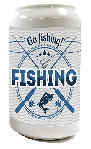 LEotiE SINCE 2004 Spardose Sparbüchse Geld-Dose Wiederverschließbar Farbe Weiß Angel Fische GEH Angeln Keramik Bedruckt Fischer Haus