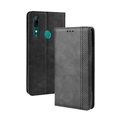 LAGUI Kompatible für Huawei Honor 9X Hülle, Leder Flip Hülle Schutzhülle für Handy mit Kartenfach Stand & Magnet Funktion als Brieftasche, schwarz
