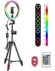 Neewer 25,4 cm RGB-ringlamp met statief en 2 telefoonhouders, dimbare selfieringlamp met afstandsbediening, 16 kleuren, 4 flitsmodi en selfie-afstandsbediening voor make-up/live streaming/YouTube/TikTok