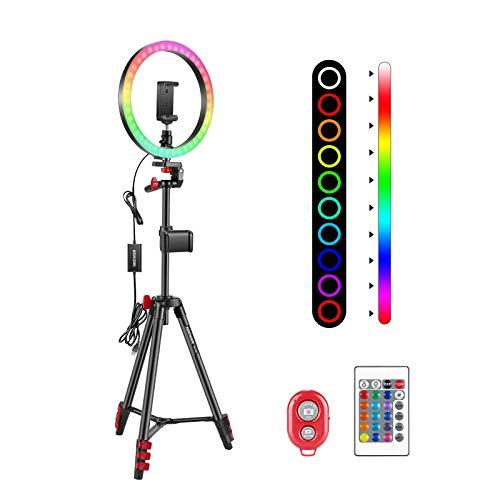 Neewer 10 Pulgadas RGB Anillo Luz Selfie con 2 Soportes para Trípode y Teléfono Control Remoto por Infrarrojos 16 Colores Regulables y 4 Modos de Flash para Maquillaje YouTube Tiktok etc.