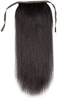 Remeehi Silky Straight High Ponytail Clip In Indian Remy Human Hair Extensions 80G 20 Inches #1B Natural Black