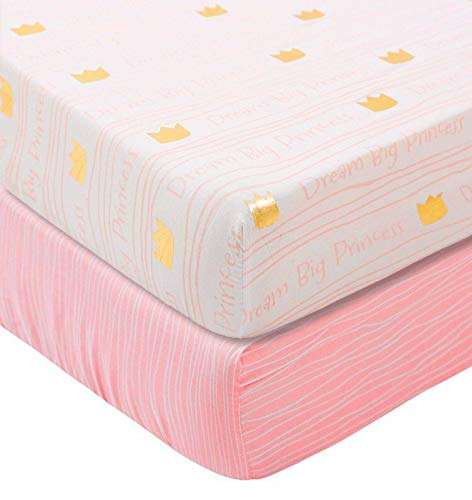 Little Grape Land Pink and Gold Fitted Crib Sheets - 2 Pack Cotton-Polyester Blend Metallic Baby Sheets - 8In Pocket Fits Standard Crib and Toddler Mattress 28''x52'' - Strip, Chevron