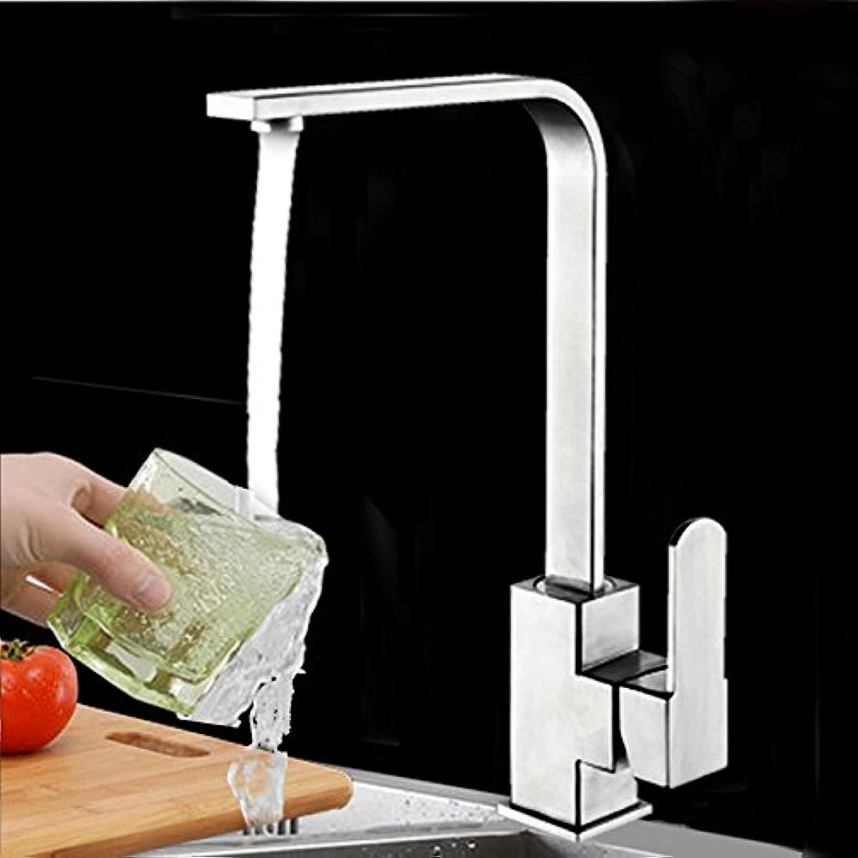 Lalaky Waschtischarmaturen Wasserhahn Waschbecken Spültisch Küchenarmatur Spültischarmatur Spülbecken Mischbatterie Waschtischarmatur Edelstahl-Quadrat Chevron Heies Und Kaltes Wasser