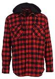 Gioberti Men's Removable Hoodie Plaid Checkered Flannel Shirt, Black/Red Checked Plaid, XX-Large