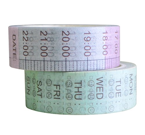 Mr-Label Day of The Week Washi Tape - Masking Tape for DIY Weekly Planner Time Plan Gift Wrapping (2 Rolls)